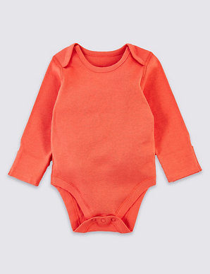 5450626812f8 5 Pack Organic Cotton Ribbed Bodysuits | M&S