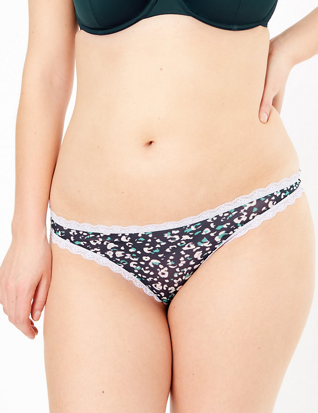 5 Pack Printed Mesh & Lace Thongs