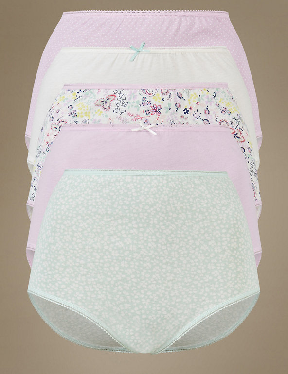New Marks /& Spencer 5 x Pure Cotton Christmas Pack Girls Brief Size 3-4 Years