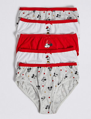b335f13a4ae5 5 Pack Pure Cotton Minnie Mouse™ Briefs (18 Months - 12 Years) | M&S