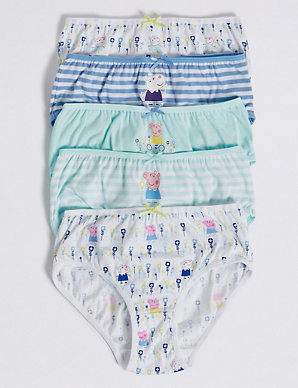 5 Pack Pure Cotton Peppa Pig Briefs 18 Months 8 Years