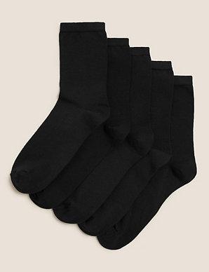 e348e8e62 5 Pair Pack Cotton Rich Ankle High Socks