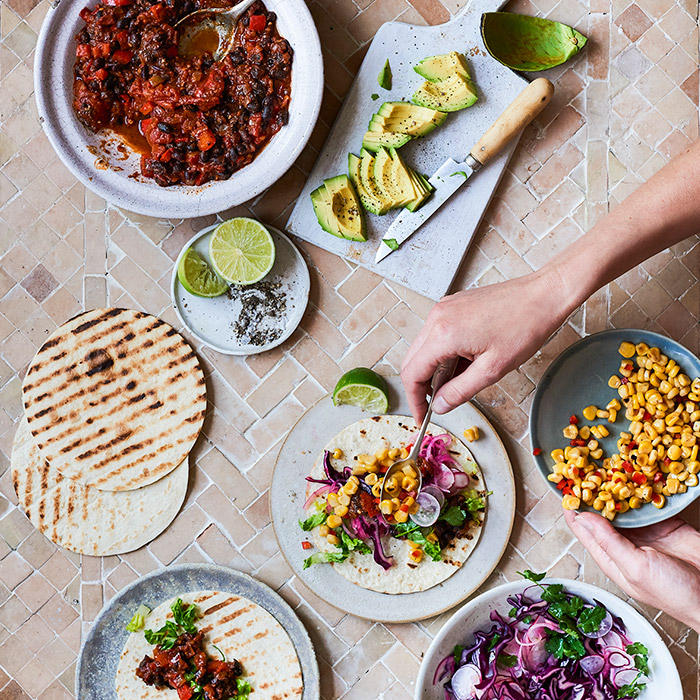 Veggie black bean chilli with tacos