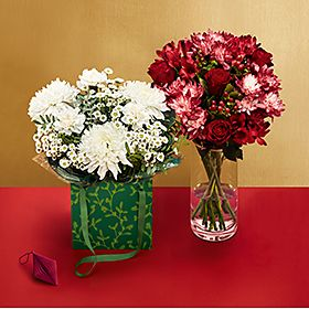 Bunches of Christmas flowers