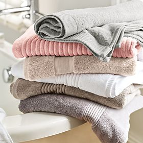 Stack of towels in bathroom