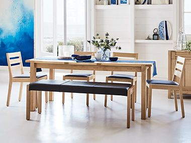 Sonoma extending dining table with bench and chairs