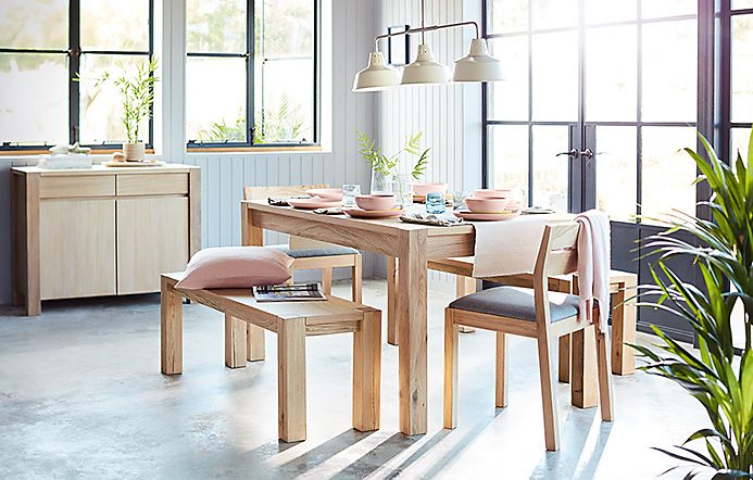 Paxton wooden dining table with matching bench and chairs