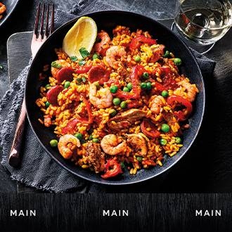 Gastropub King prawn and chargrilled chicken paella