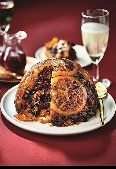 Prosecco and orange Christmas pudding