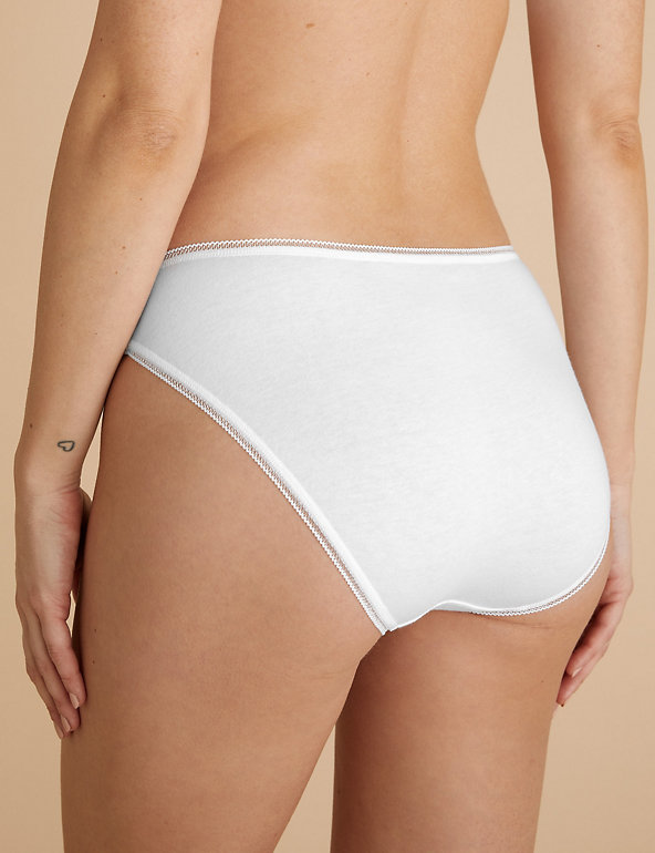 M/&S 5 Pack Cotton Rich High Leg Knickers Black-White Uk 16-20