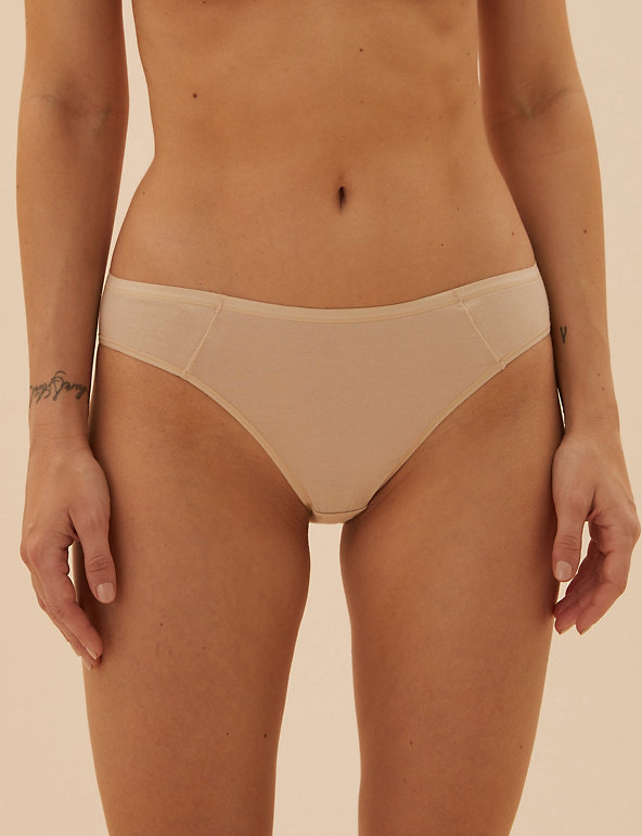 M /& S sze 14 NO VPL Bikini knickers panties briefs stretchy cotton /& modal Pink