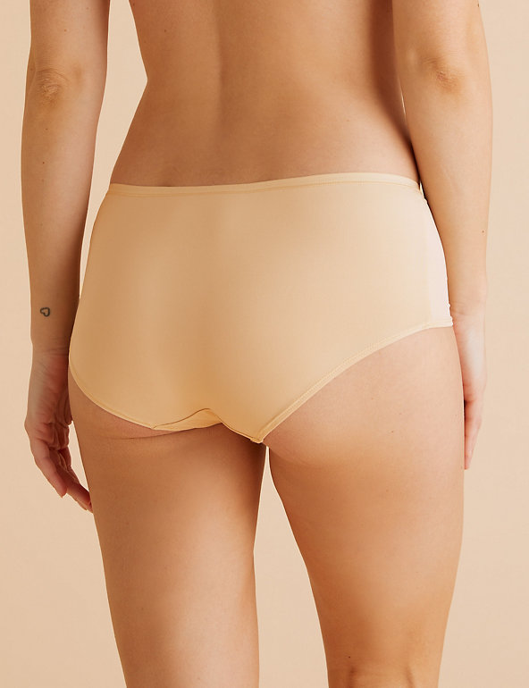 M /& S size 14 comfort flexifit low rise shorts knickers panties Natural