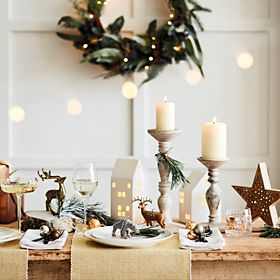 Christmas decorations, glassware and candleholders