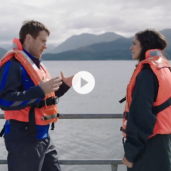 A video clip of ITV's Lucy Verasamy on the loch with salmon farmer Andrew Macleannan