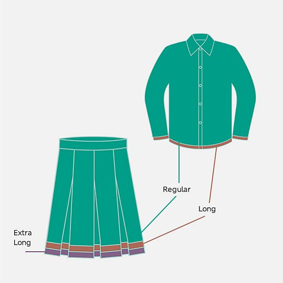 illustration of different lengths available in M&S school uniform