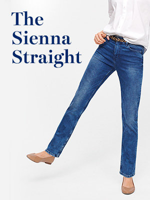 Woman wearing Sienna straight jeans