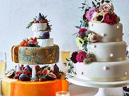 Tiered wedding cake and cheese wedding cake