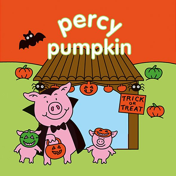 Percy Pig in vampire costume with piglets