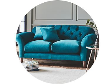 A bright blue sofa