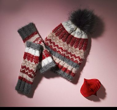 Fair Isle bobble hat and mittens