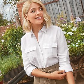 Holly Willoughby wearing a white linen shirt