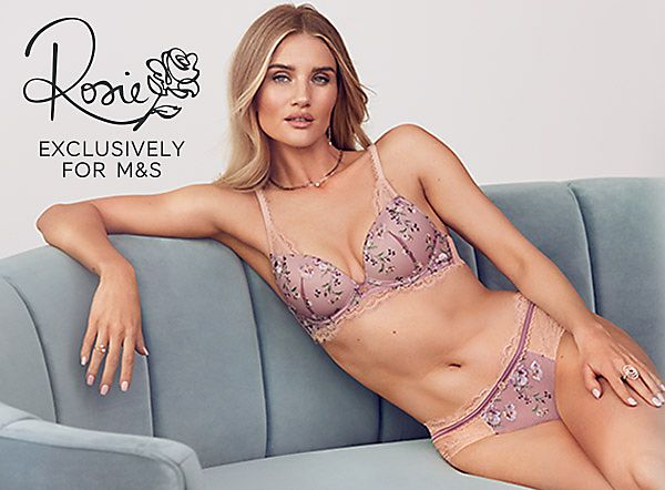 Rosie Huntington-Whiteley wearing a pink floral and lace set