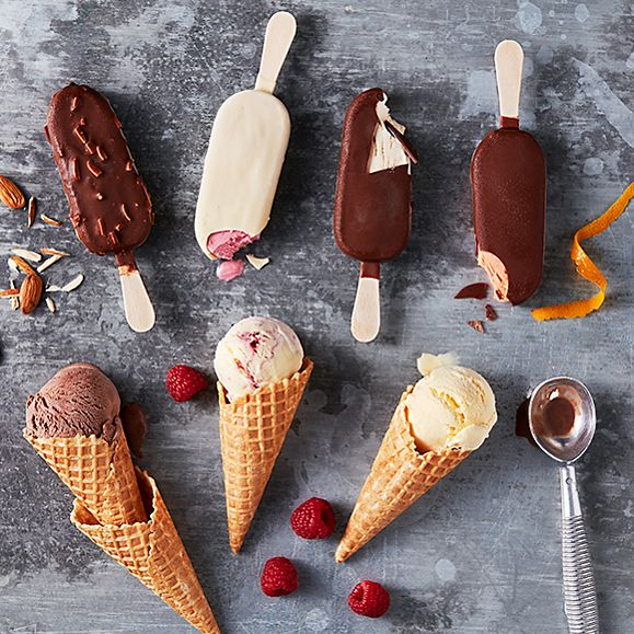 A selection of frozen dessert sticks and Cornish ice-cream cones