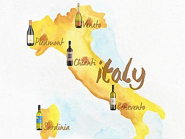 Map of Italy by wine region