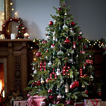 A large decorated Christmas tree