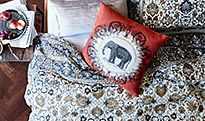 Patterned bedding on a bed