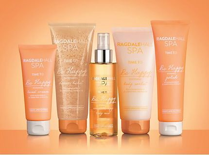 Ragdale Hall's Be Happy bodycare against an orange background