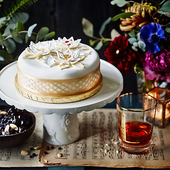 The Collection Jewelled Poinsettia Christmas Cake With A Glass Of Brandy
