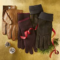 Leather and fabric gloves