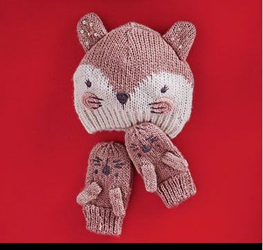 Fox knitted hat and gloves kids set