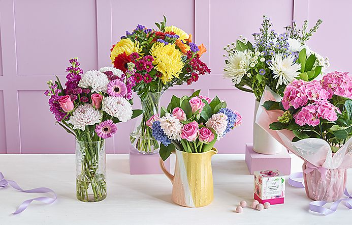 Bouquets of colourful flowers