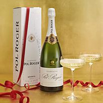 Bottle of Pol Roger and two filled champagne glasses