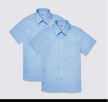 Two-pack boys' blue short-sleeved easy-iron M&S school shirts