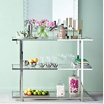 Glass console table with shelving