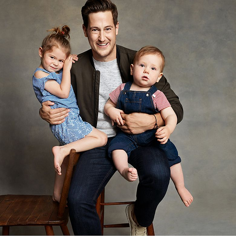 Instagrammer and blogger The London Dad, Gregory Stanton, with his children Etta and Ezra wearing M&S