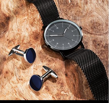 Men's cufflinks and watch