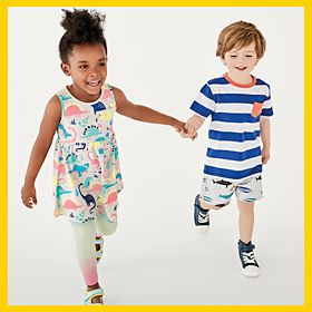 Girl and boy wearing M&S kids' clothing