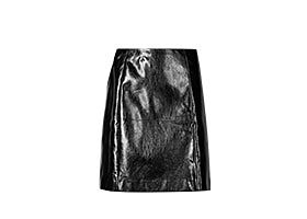 Black patent A-line mini skirt