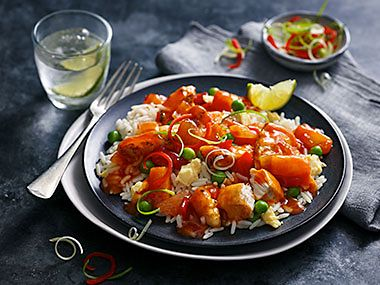 Count On Us sweet and sour chicken with egg-fried rice