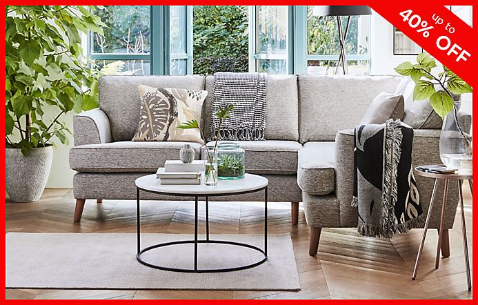 Copenhagen Corner Sofa With Sanford Coffee Table And Cushions In Living Room