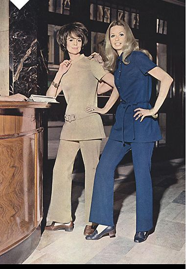 Women wearing coordinated tunics and trousers in the workplace, 1970