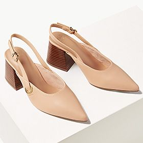 Blush pink point-toe slingback shoes