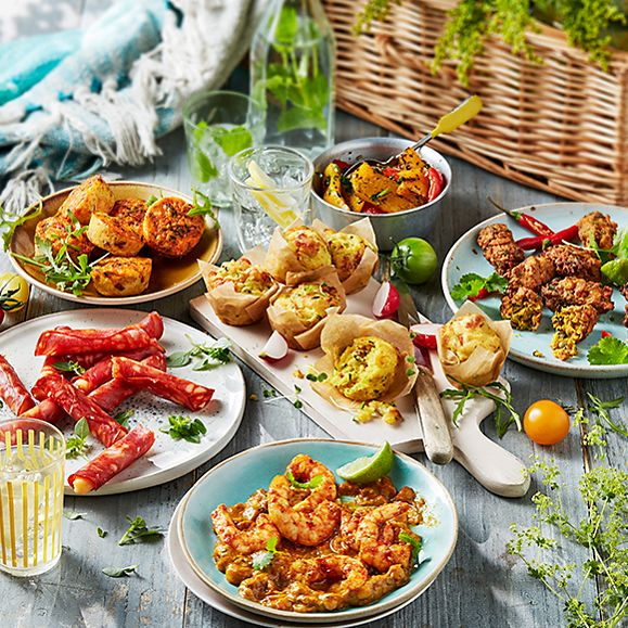 A selection of new M&S deli produce, including tandoori king prawns and chorizo and diablo cheddar rolitos