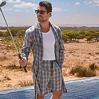 David Gandy wearing nightwear