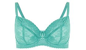 Green lace non-padded balcony bra