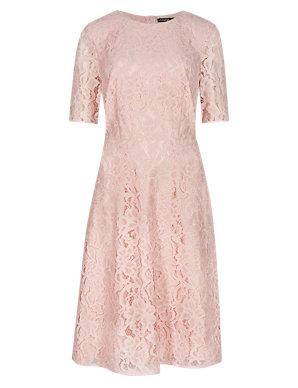 462e312d0ff87c All-Over Floral Lace Skater Dress   Autograph   M&S